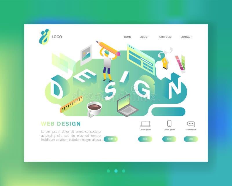 Website-Entwicklungs-Webdesign-Landungs-Seiten-Schablone Isometrisches Konzept mobiler App mit Charakter Einfach zu redigieren stock abbildung