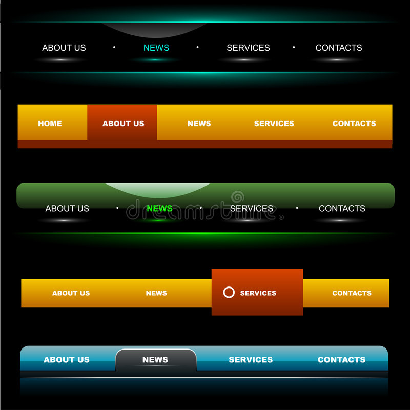 website för 4 navigeringmallar vektor illustrationer