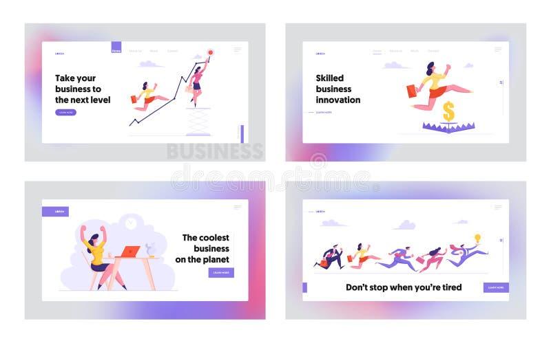 Website för anställda för kontor för affärslägen som landar sidauppsättningen Kvinnan för finansiella risker hoppar över fälla so stock illustrationer