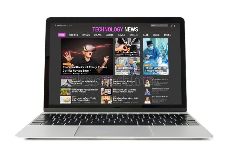 Website för prövkopiateknologinyheterna på bärbara datorn fotografering för bildbyråer