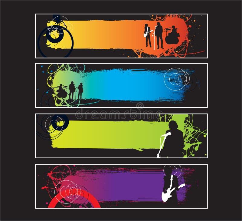website för rock för bandbanermusik set royaltyfri illustrationer