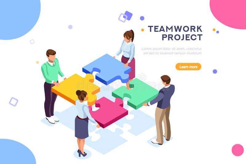 Website för sida för landning för seo för teamworkprojektrengöringsduk stock illustrationer
