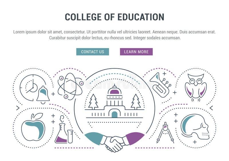 Website-Fahne und Landungs-Seiten-College der Bildung stock abbildung
