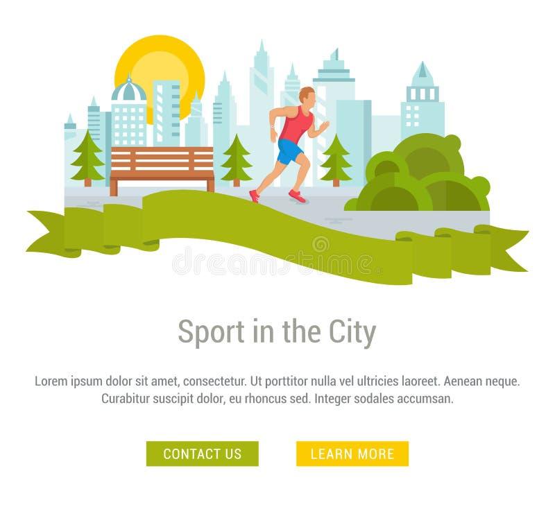 Website-Fahne und Landungs-Seiten-Sport in der Stadt stock abbildung