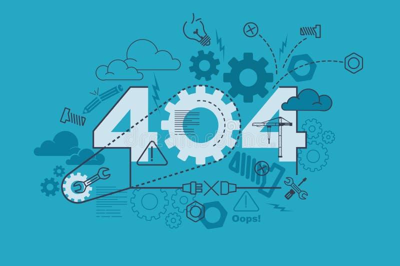 Website-Fahnenkonzept mit 404 Fehlern mit dünner Linie flaches Design lizenzfreie abbildung