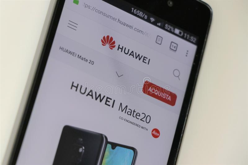 Website of the famous telephony giant, Huawei. stock image