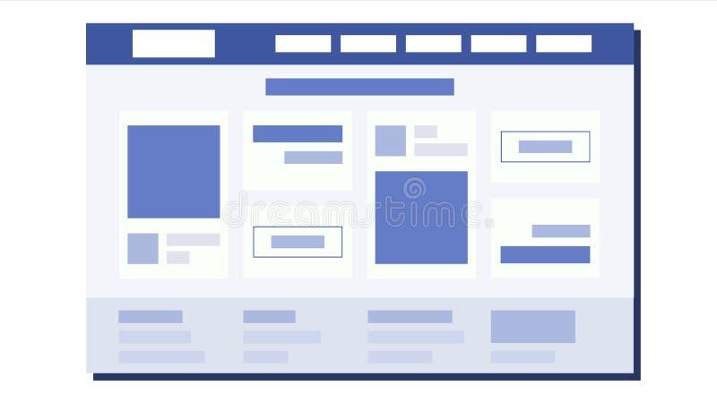 Website Flat Design Vector. Page Plan. Coding. Web Development. Website Template. Illustration stock illustration