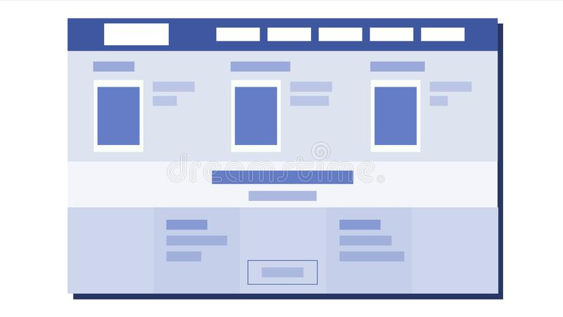 Website Flat Design Vector. UX Sketch. Template Web Page. Illustration stock illustration