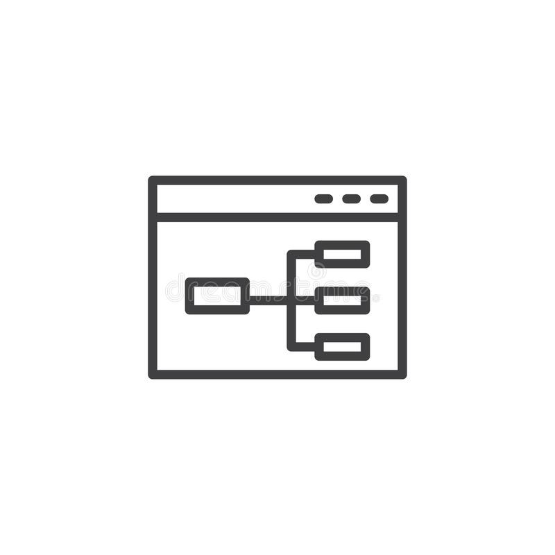 Website flowchart line icon. Wireframe linear style sign for mobile concept and web design. Sitemap outline vector icon. Symbol, logo illustration. Pixel vector illustration