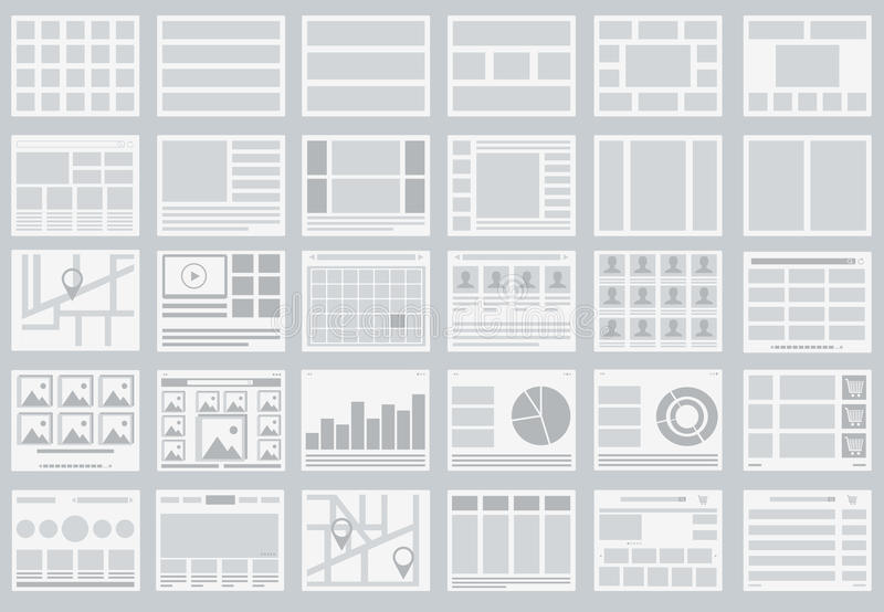 Website Flowcharts, layouts of tabs, infographics, maps stock illustration