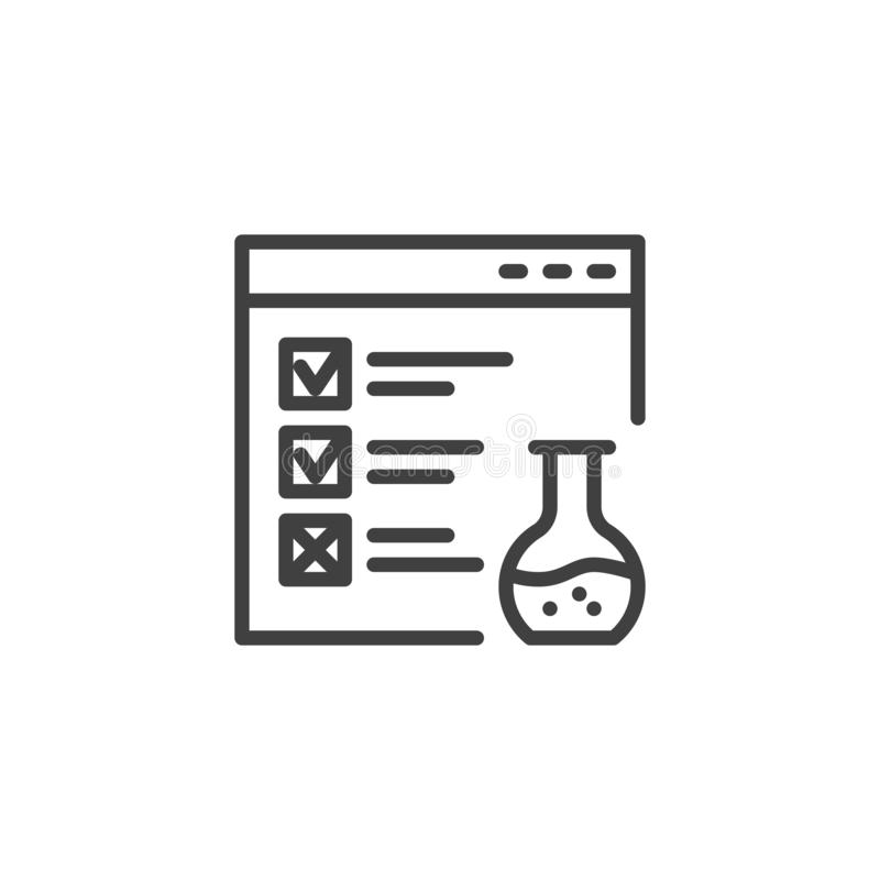Website functional testing line icon stock illustration