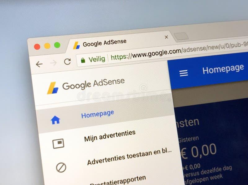 Website of Google AdSense. Amsterdam, Netherlands - May 17, 2018: Website of Google AdSense royalty free stock photo