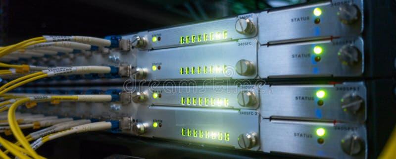 Website header background. Telecommunication Broadband Fiber Optical Cables. Datacenter rack. Technology concept. royalty free stock photography