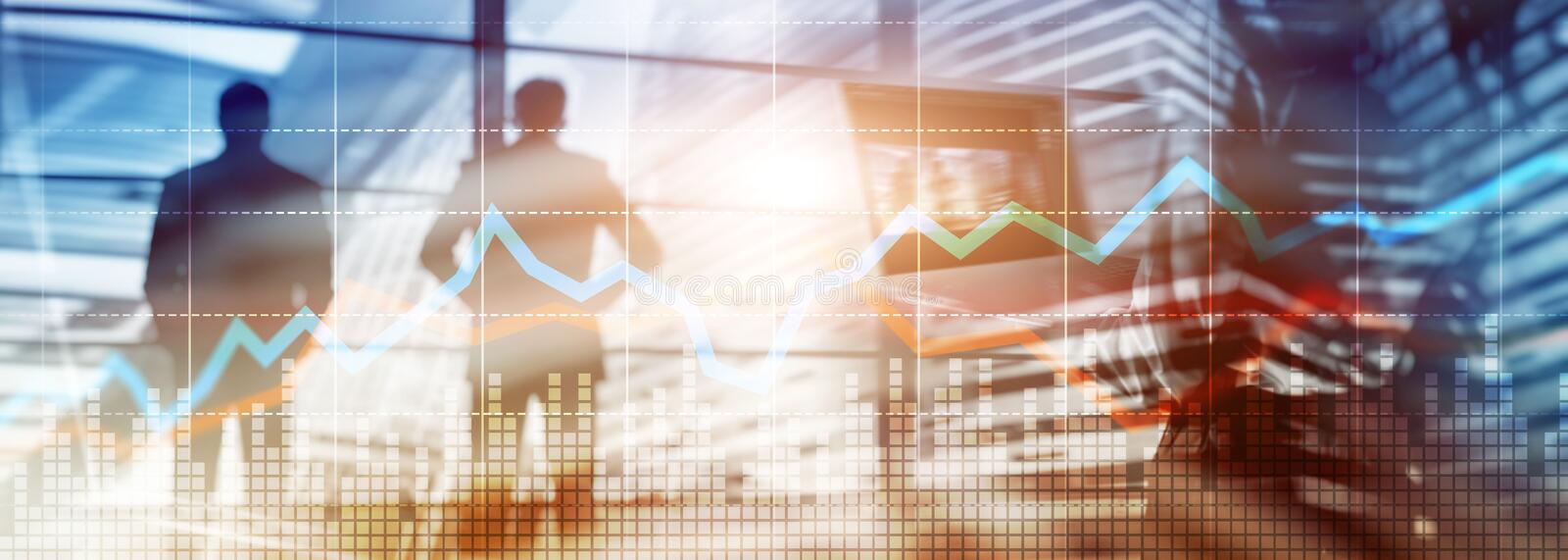 Website header banner. Business Financial Trading Investment concept graph virtual screen double exposure. Website header banner. Business Financial Trading stock image