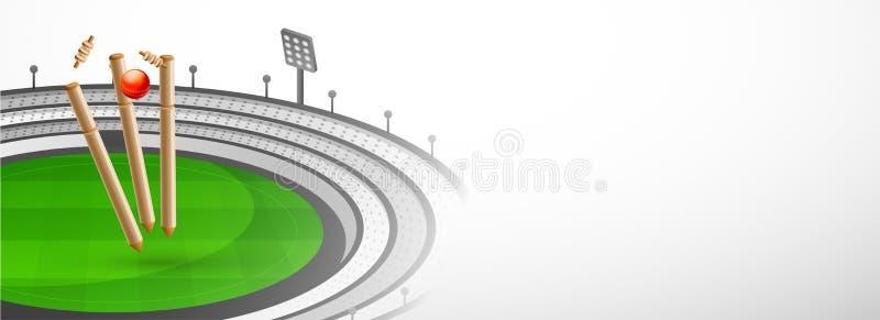 Website header or banner design with cricket equipments on stadium view background. vector illustration