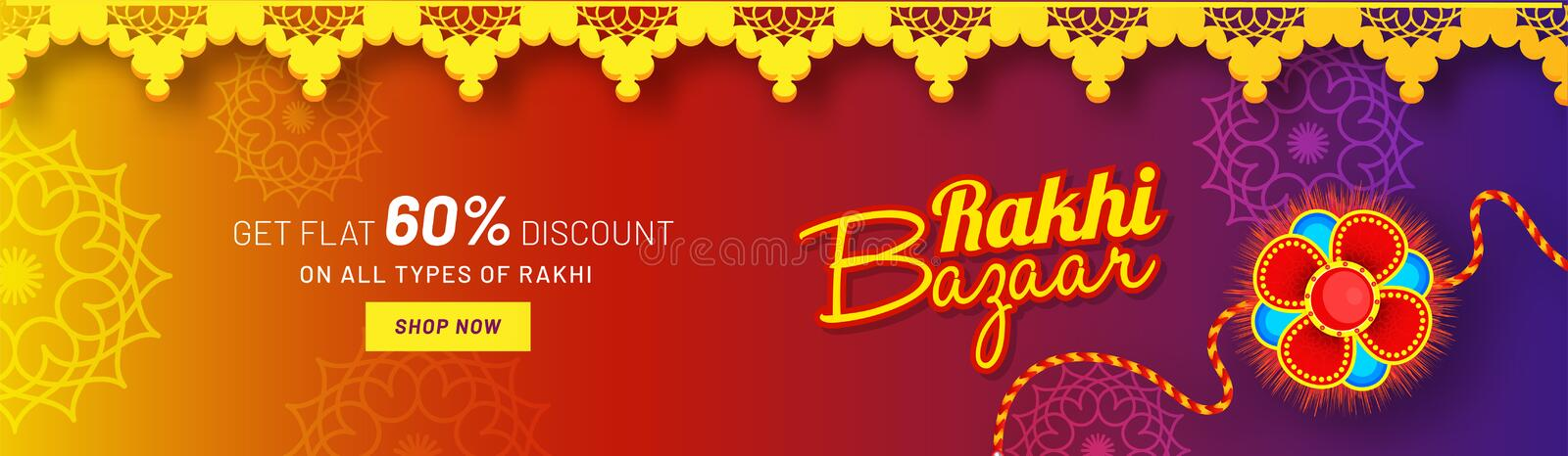 Website header or banner design with 60% discount offer and beautiful rakhi Wristband. Website header or banner design with 60% discount offer and beautiful vector illustration