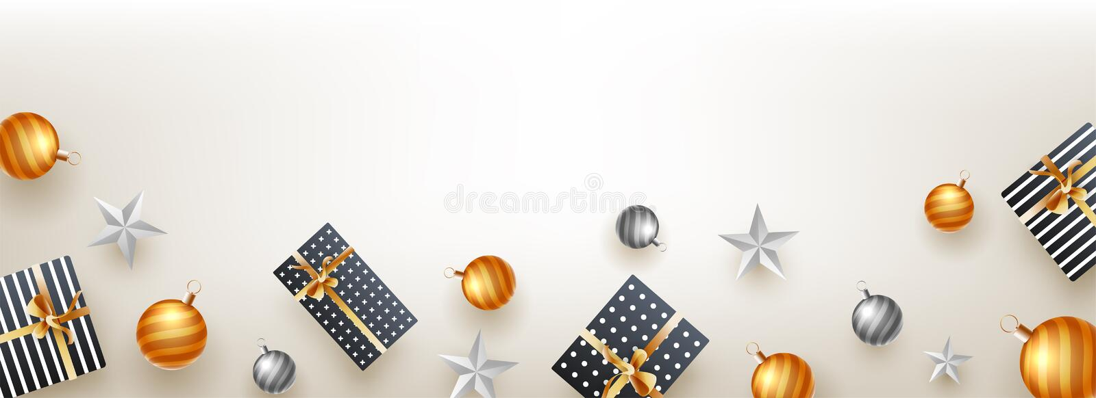 Website header or banner design, top view of gift boxes, stars a royalty free illustration