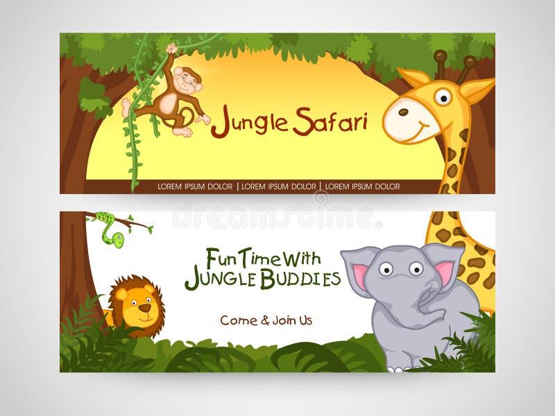 Website header or banner of jungle safari. vector illustration