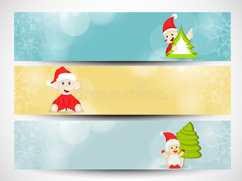Website header or banner set for Merry Christmas celebration. stock illustration
