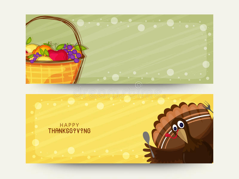 Website header or banner for Thanksgiving Day. Website header or banner set with Turkey Bird and fruits for Happy Thanksgiving Day celebration royalty free illustration