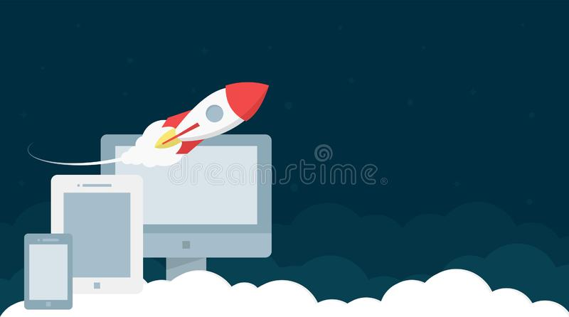 Website Header Design With Rocket Launch And Devices. Website header template design with rocket launch and communication devices for business, finance royalty free illustration