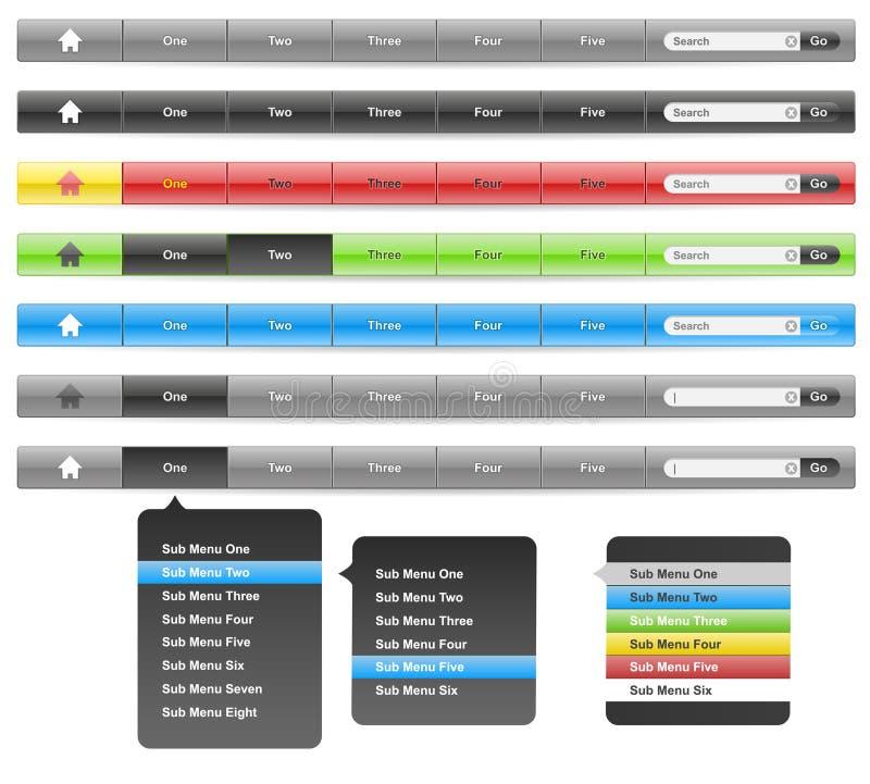 Website Header Navigation Bar 1000 Pixels Wide. Plus Colour Variants, Hot, Cold and Current Button States and Sub Menu System stock illustration