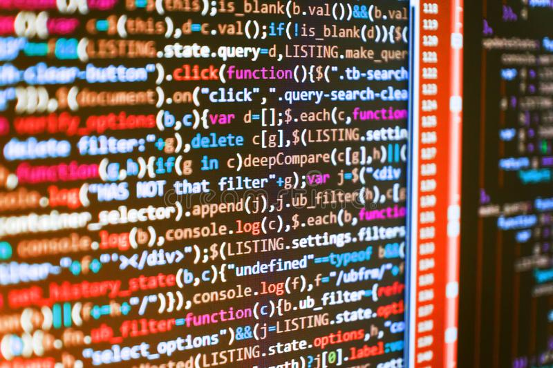 Website HTML Code on the Laptop Display Closeup Photo. royalty free stock photography