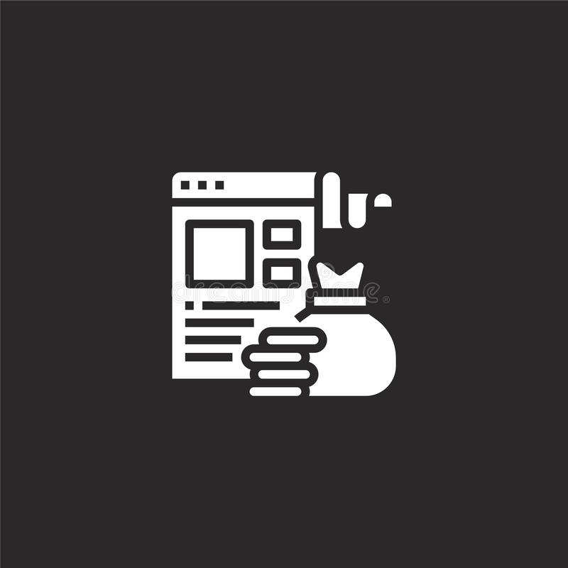 Website icon. Filled website icon for website design and mobile, app development. website icon from filled seo collection isolated. On black background vector illustration