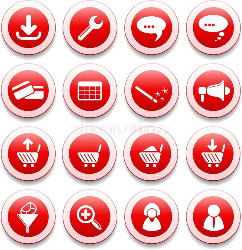 Website icons. Website vector iconset, red style stock illustration