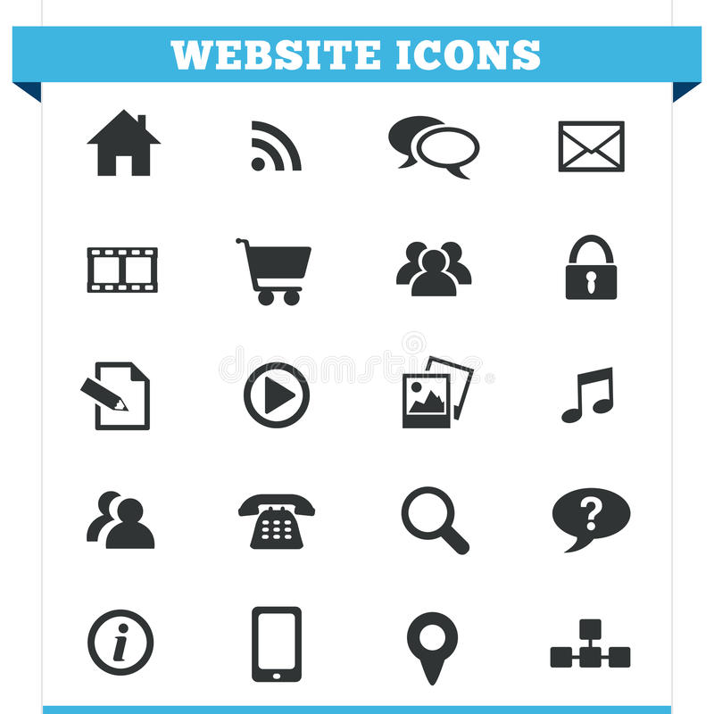 Website Icons Vector Set. Vector set of website and Internet icons and design elements for blog, forum, online portfolio and web pages. Illustration isolated on