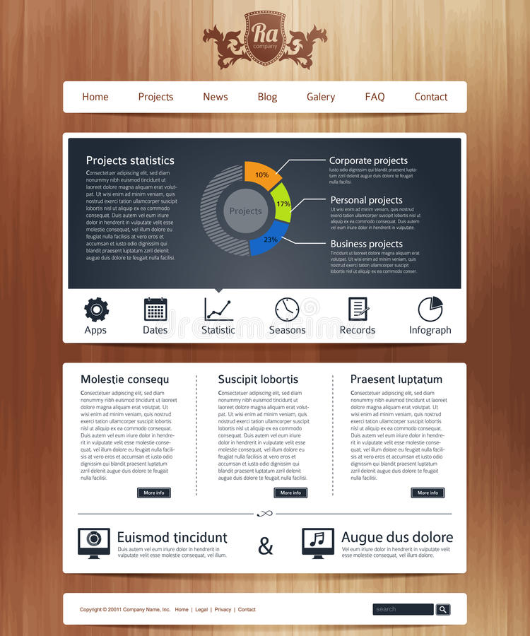 Website with infographics. Website business design template with infographics