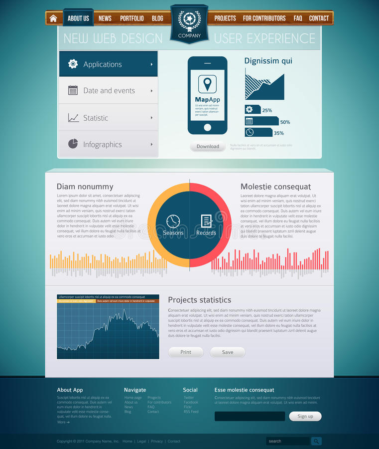 Download Website with infographics stock photo. Image of illustration - 20076462