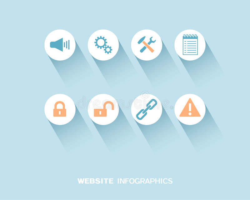 Website infographics with flat icons set stock illustration