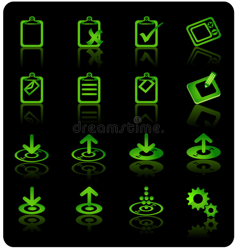 Website & Internet Icon set. ( Green series over black vector illustration