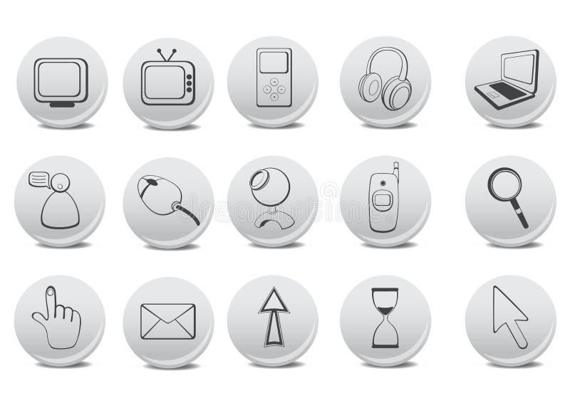 Website and Internet icons. Vector illustration of different Website and Internet icons royalty free illustration