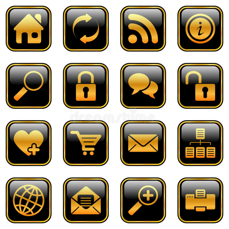 Website and internet icons, golden series royalty free illustration
