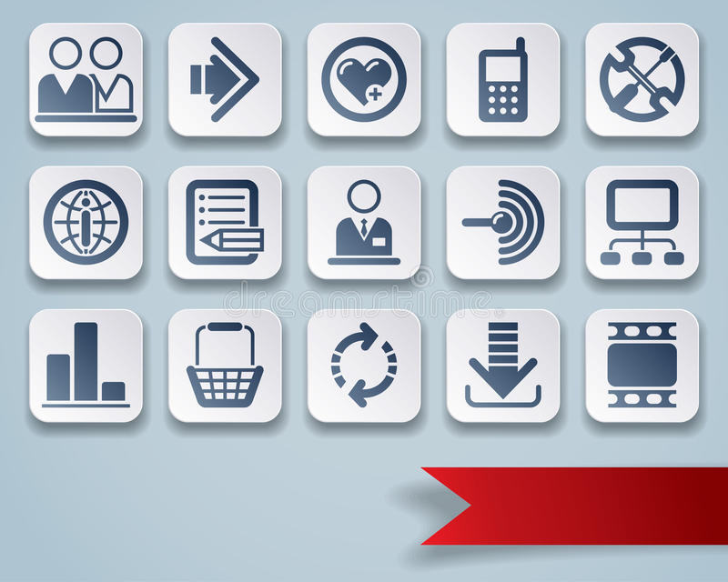 Website and internet icons. Raster version of vector set of square website and internet icons with red ribbon (contain the Clipping Path). There is in addition a vector illustration