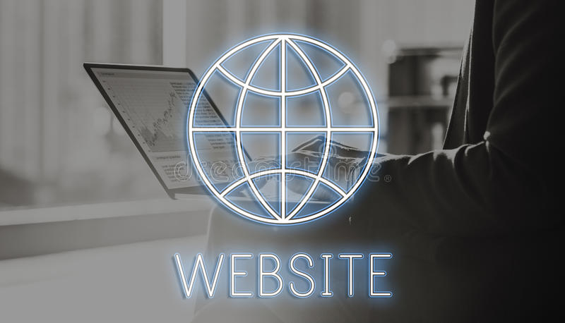 Website Internet Technology Globe Concept. Businessman Website Internet Technology Globe Concept royalty free stock image