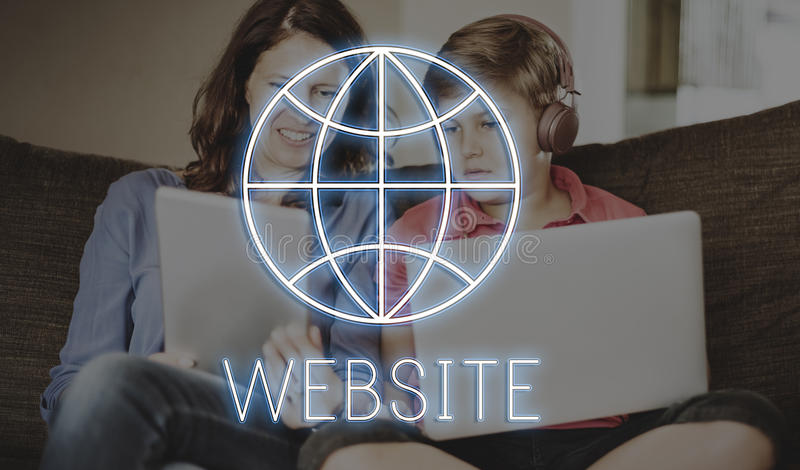 Website Internet Technology Globe Concept. Mother and Son Website Technology Globe Concept royalty free stock images