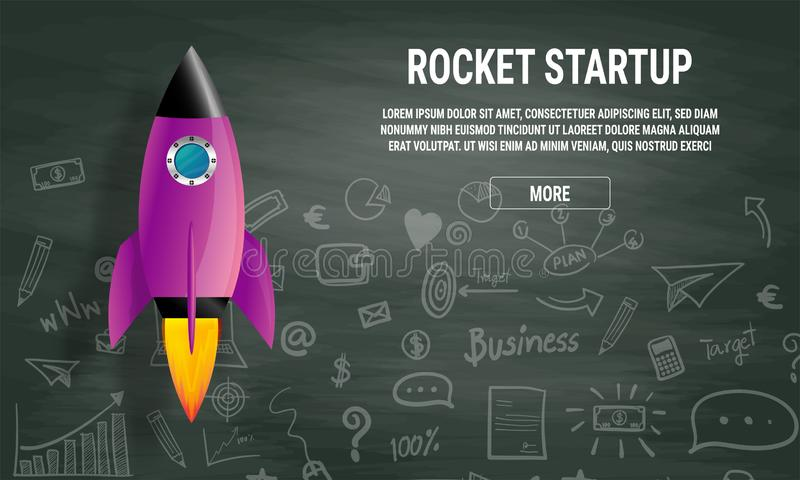 Website landing home page with rocket. Business project startup and development modern flat background. Mobile web design template royalty free illustration