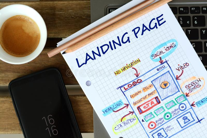 Website landing page development – sketch on math book royalty free stock photography