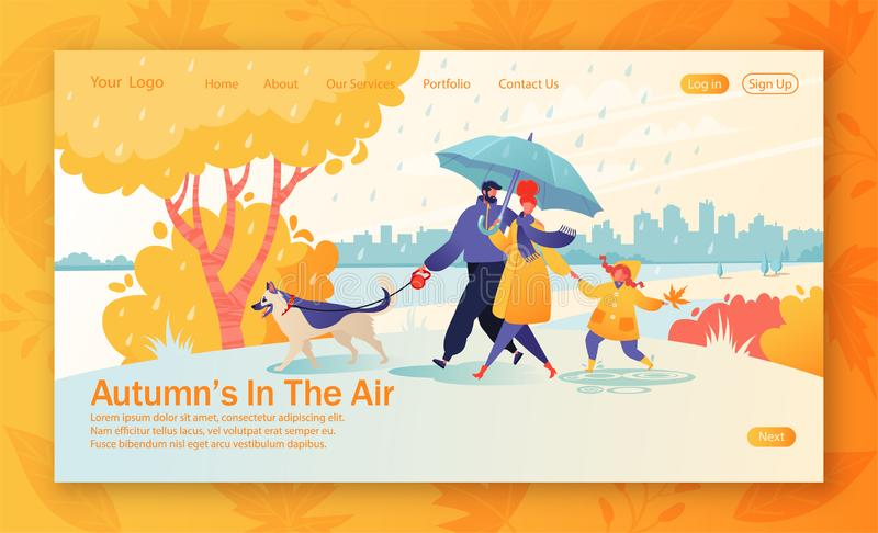 Website landing page with happy young family spend joyful time together. F. Ather leads a dog on a leash, mom holds hand of a daughter, she carefree jumps stock illustration