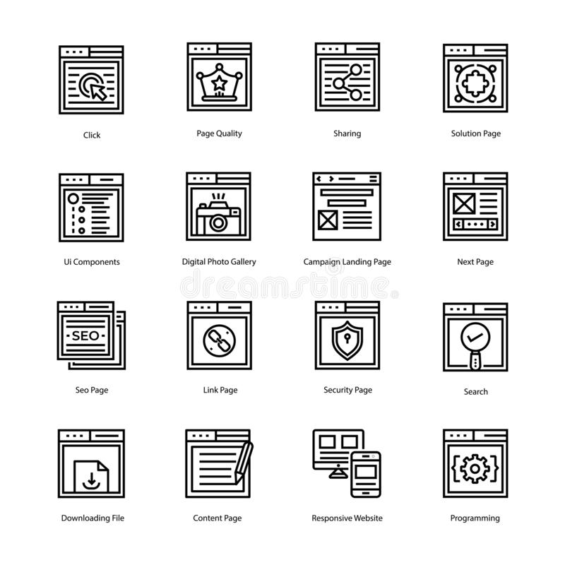 Website Landing Page Line Vector Icons stock images