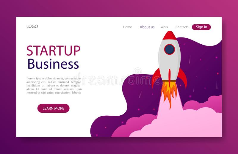 Website landing page with startup rocket concept for marketing, business, mobile app. Launch rocket idea for start up business. stock illustration
