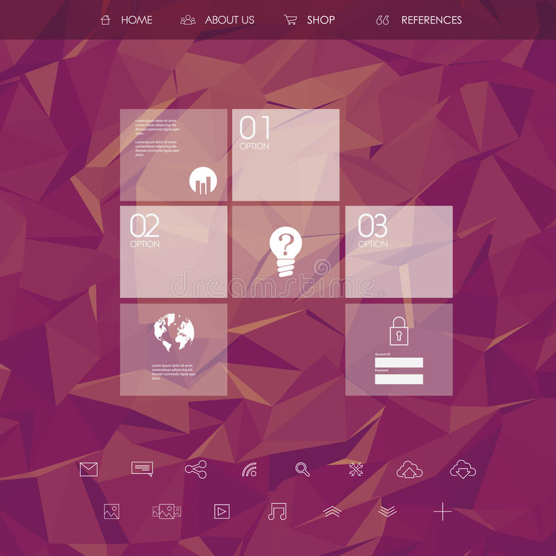 Website landing page template with set of line icons user interface and purple low poly background. Eps10 vector illustration vector illustration
