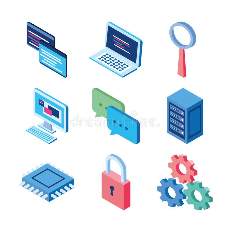 Website laptop security gears chat data server technology internet stock illustration