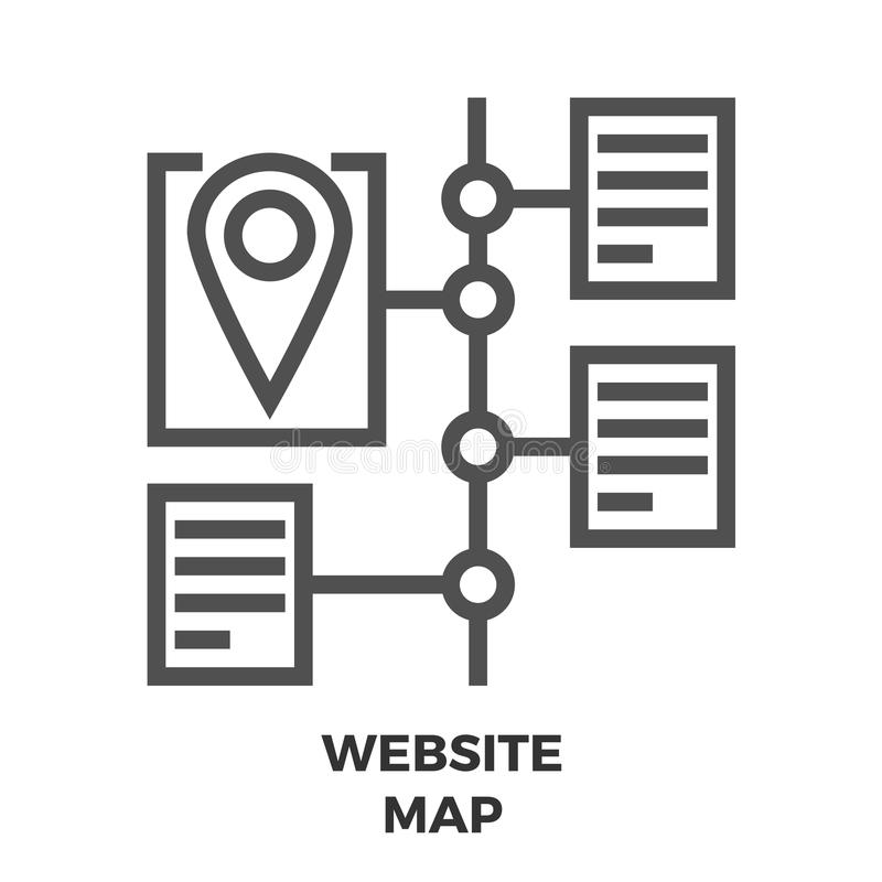 Website Map Line Icon. Website Map Thin Line Vector Icon on the White Background vector illustration