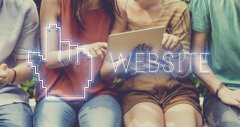 Website-Mauscursor-Klicken-Pixel-Konzept lizenzfreie stockfotografie