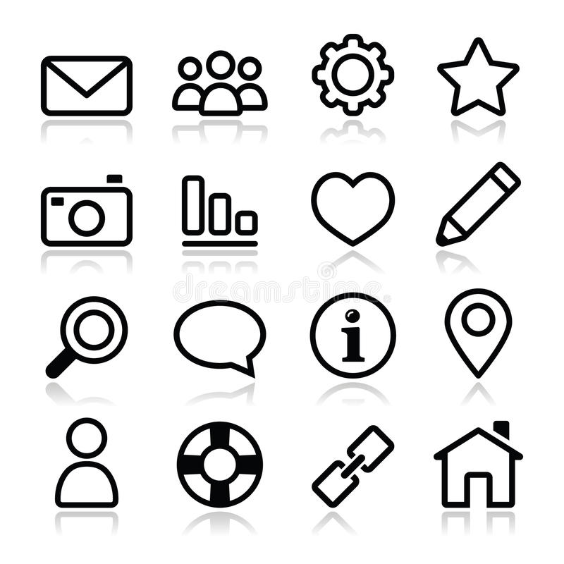 Website menu navigation stroke icons - home, search, email, gallery, help, blog icons royalty free illustration