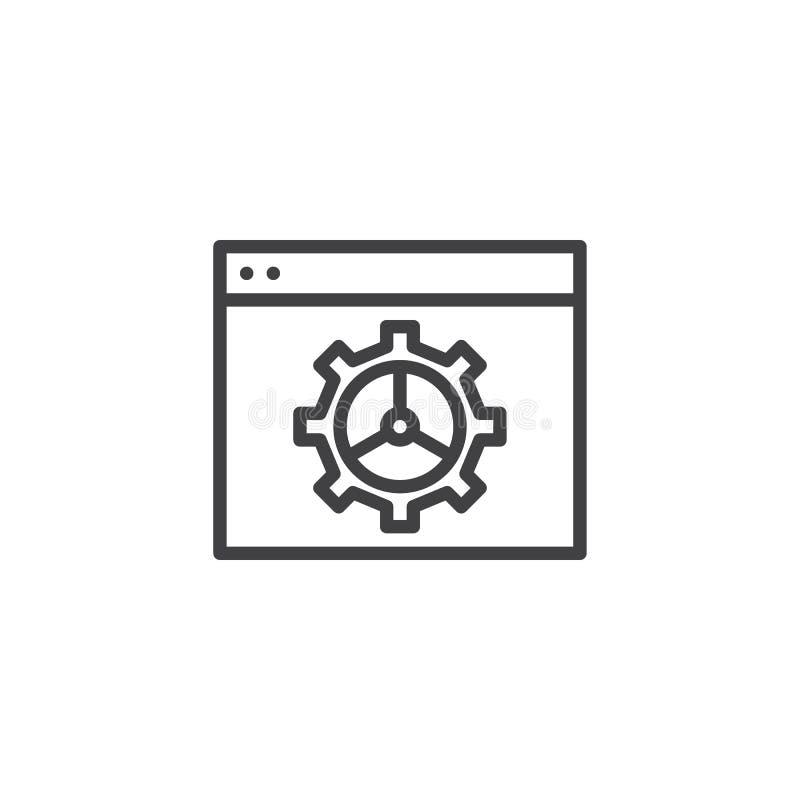 Website met het plaatsen van het pictogram van de tandradlijn stock illustratie